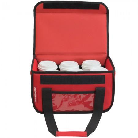 Ισοθερμική τσάντα Θερμόσακος Delivery για Μεταφορά εως 6 καφέ ή 15 λίτρα μαύρη σε κόκκινο χρώμα