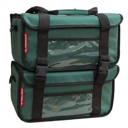 Διπλή Ισοθερμική τσάντα Delivery καφέ Αποσπώμενος Θερμόσακος εως 12 καφέ ή 40 λίτρα σε πράσινο χρώμα