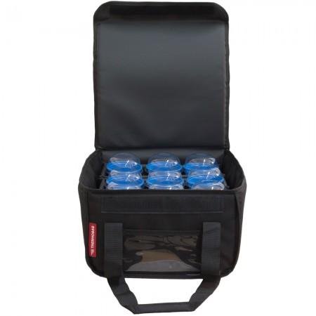 Ισοθερμική τσάντα Θερμόσακος Delivery μεταφοράς εως 9 καφέ  ή 28 λίτρα σε μαύρο χρώμα