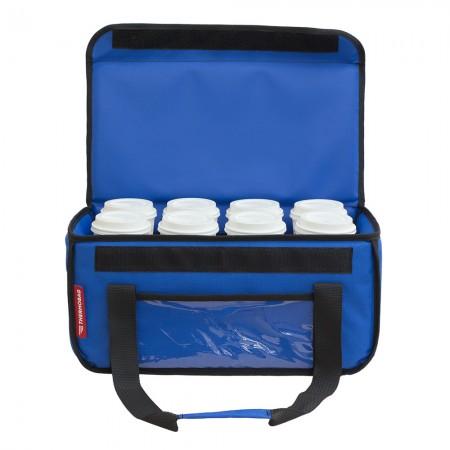 Ισοθερμική τσάντα Delivery Καφέ Θερμόσακος για Μεταφορά εως 8 καφέ ή 24 λίτρα σε μπλε ρουά χρώμα