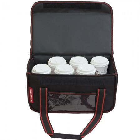 Ισοθερμική τσάντα θερμόσακος delivery για μεταφορά εως 8 + 3 ή 6 + 2 καφέ ή 20 λίτρα με κόκκινη ρίγα