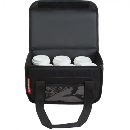 Ισοθερμική τσάντα delivery καφέ Θερμόσακος μεταφοράς εως 6 καφέ ή 15 λίτρα σε μαύρο χρώμα