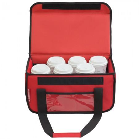 Ισοθερμική τσάντα θερμόσακος delivery για μεταφορά εως 8 + 3 ή 6 + 2 καφέ ή 20 λίτρα σε κόκκινο χρώμα