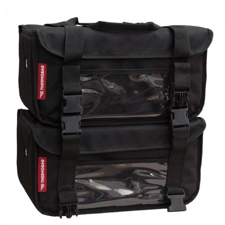 Διπλή Ισοθερμική τσάντα Delivery καφέ Αποσπώμενος Θερμόσακος εως 12 καφέ ή 40 λίτρα σε μαύρο χρώμα