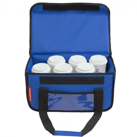 Ισοθερμική τσάντα θερμόσακος delivery για μεταφορά εως 8 + 3 ή 6 + 2 καφέ ή 20 λίτρα σε μπλε ρουά χρώμα