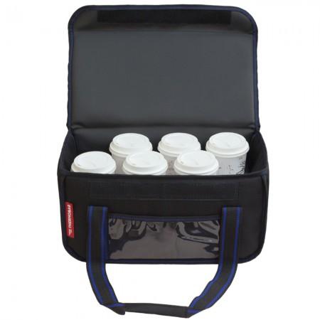 Ισοθερμική τσάντα θερμόσακος delivery για μεταφορά εως 8 + 3 ή 6 + 2 καφέ ή 20 λίτρα με μπλε ρίγα