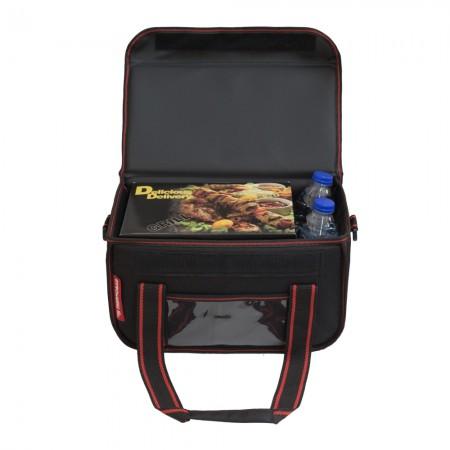 Ισοθερμική Τσάντα Delivery για Φαγητό Θερμόσακος Μεταφοράς Φαγητού 15 λίτρα με κόκκινη ρίγα