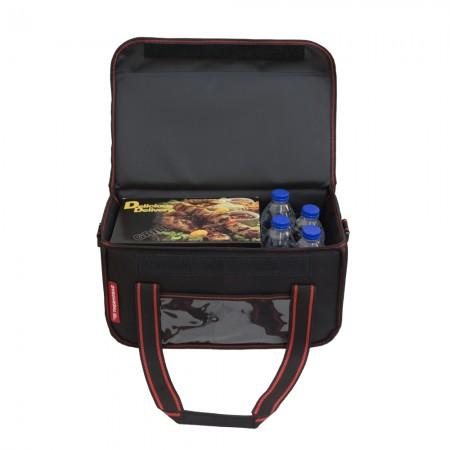 Ισοθερμική Τσάντα Delivery για Φαγητό Θερμόσακος Μεταφοράς Φαγητού 20 λίτρα με κόκκινη ρίγα