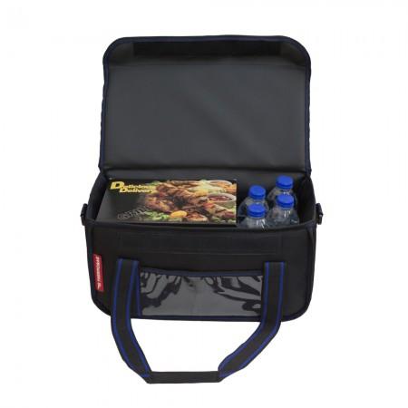 Ισοθερμική Τσάντα Delivery για Φαγητό Θερμόσακος Μεταφοράς Φαγητού 20 λίτρα με μπλε ρίγα