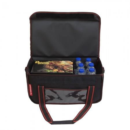 Ισοθερμική Τσάντα Delivery για Φαγητό Θερμόσακος Μεταφοράς Φαγητού 24 λίτρα με κόκκινη ρίγα