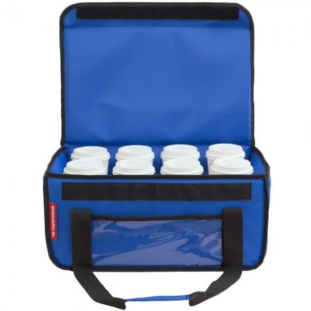 Ισοθερμική τσάντα delivery Καφέ Θερμόσακος μεταφοράς  εως 8 + 3 καφέ ή 30 λίτρα σε μπλε ρουά χρώμα