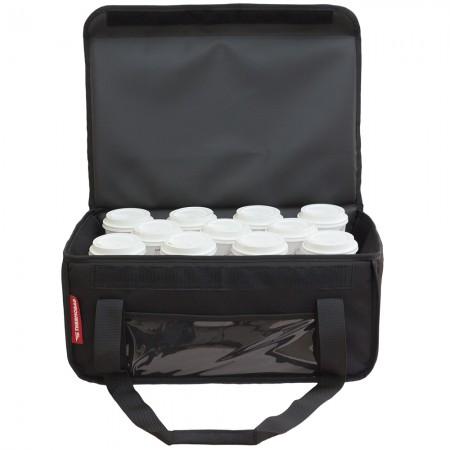 Τσάντα Delivery Καφέ Ισοθερμική Θερμόσακος  Μεταφοράς εως 11 + 2 καφέ ή 40 λίτρα σε μαύρο χρώμα