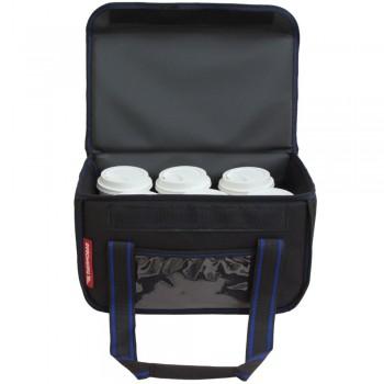 Ισοθερμική τσάντα Θερμόσακος Delivery για Μεταφορά εως 6 καφέ ή 15 λίτρα μαύρη με μπλε ρίγα